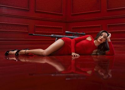 brunettes, women, dress, sniper rifles, Maggie Q, Nikita, Barrett - desktop wallpaper