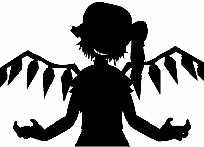 black and white, video games, Touhou, Flandre Scarlet, Bad Apple!, simple background - desktop wallpaper