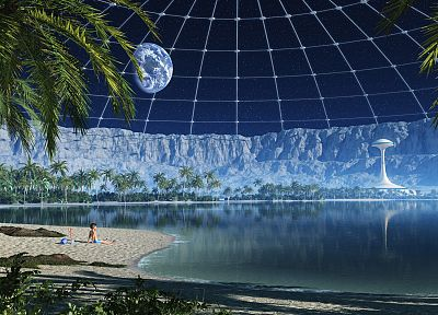 outer space, futuristic, palm trees, beaches - desktop wallpaper