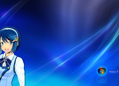 Windows 7, Madobe Nanami, anime, anime girls, personification - desktop wallpaper
