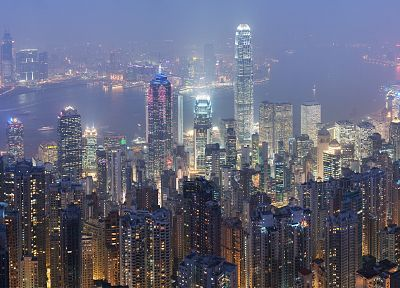 night, fog, Hong Kong, cities - desktop wallpaper