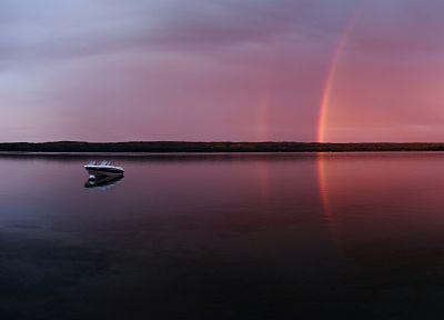 sunset, landscapes, nature, ships, rainbows, lakes - related desktop wallpaper