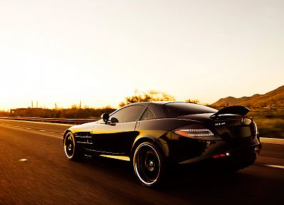 cars, sunlight, roads, vehicles, black cars, speed, automobiles, Mercedes-Benz SLR McLaren, Mercedes Benz, rear angle view - random desktop wallpaper