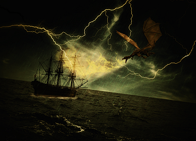 dragons, storm, ships, artwork - random desktop wallpaper