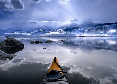 mountains, winter, snow, California, lakes, kayak, Mono Lake - random desktop wallpaper