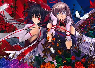 video games, Touhou, Miko, Hakurei Reimu, Yakumo Yukari, Japanese clothes, Misaki Kurehito, anime girls, detached sleeves - related desktop wallpaper