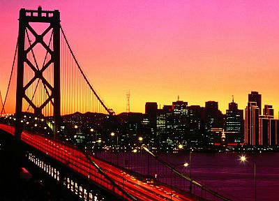 sunset, cityscapes, bridges, buildings, San Francisco, long exposure - desktop wallpaper