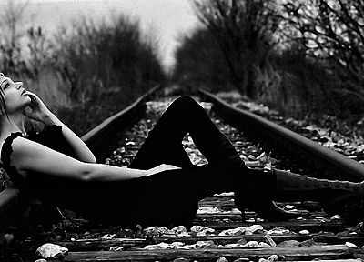 women, monochrome, railway - desktop wallpaper