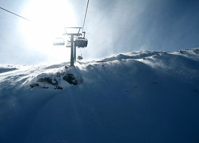 snow, sunlight, chairlift - random desktop wallpaper