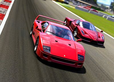 cars, Ferrari, vehicles, Ferrari Enzo, Ferrari F40, Gran Turismo 5 - random desktop wallpaper