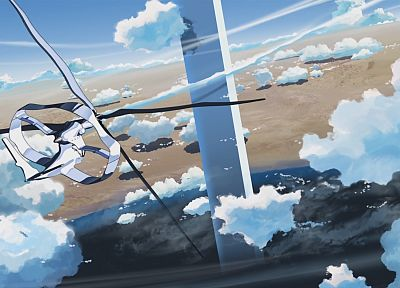 aircraft, Makoto Shinkai, vehicles, anime, The Place Promised in Our Early Days, contrails, flight - desktop wallpaper