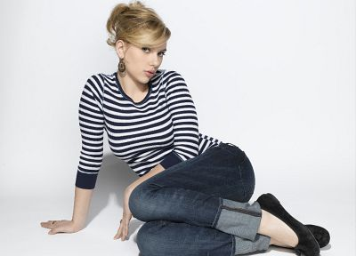 women, jeans, Scarlett Johansson, actress, ballerina shoes - desktop wallpaper