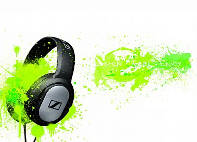 headphones, music, paint, Sennheiser, splashes - random desktop wallpaper