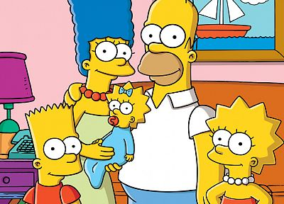 family, Homer Simpson, The Simpsons, Bart Simpson, Lisa Simpson, Marge Simpson, Maggie Simpson, TV series - random desktop wallpaper