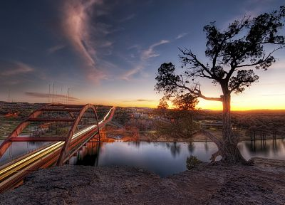 landscapes, nature, trees, austin, bridges, rivers - related desktop wallpaper