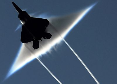 aircraft, military, F-22 Raptor, contrails, Braking Sound Barrier - random desktop wallpaper