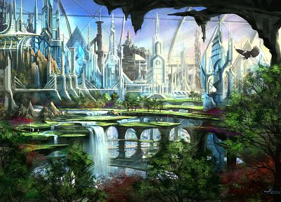 cityscapes, futuristic, garden, fantasy art, waterfalls - related desktop wallpaper