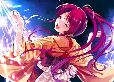 video games, redheads, fireworks, smiling, Japanese clothes, Misaki Kurehito, Suiheisen made Nan Mile?, Miyamae Tomoka - related desktop wallpaper