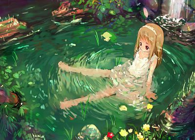 leaves, ponds, artwork, anime girls - random desktop wallpaper