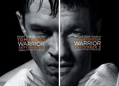 movies, fight, MMA, monochrome, warriors, movie posters, Tom Hardy, Joel Edgerton - random desktop wallpaper