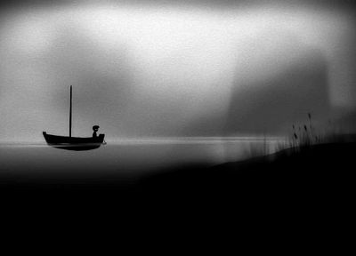 black and white, video games, landscapes, boats, grainy, sea shorelines, sea - random desktop wallpaper