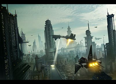 cityscapes, futuristic, future, digital art - desktop wallpaper