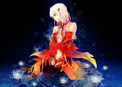 gears, red eyes, detached sleeves, Guilty Crown, Yuzuriha Inori - random desktop wallpaper