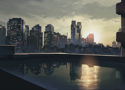 cityscapes, architecture, buildings, Makoto Shinkai, artwork, anime, reflections - desktop wallpaper
