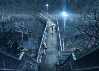 rain, bridges, lonely, scenic, anime, umbrellas - random desktop wallpaper