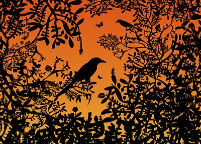 silhouettes, ravens, branches - related desktop wallpaper