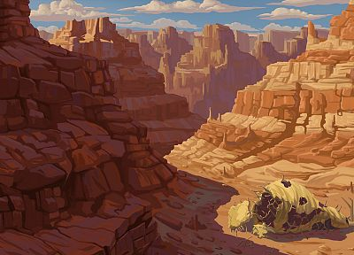 deserts, canyon, artwork - random desktop wallpaper