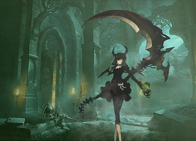 green, skulls, castles, ruins, cityscapes, Black Rock Shooter, scythe, Dead Master, horns, weapons, devil, master, destroyed, anime girls, swords - desktop wallpaper