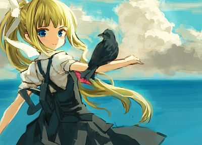 blondes, ocean, birds, Kamio Misuzu, anime, Air (anime), children - related desktop wallpaper