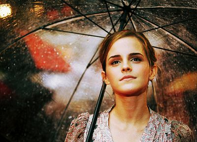 women, Emma Watson, rain, actress, celebrity, umbrellas - random desktop wallpaper