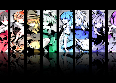 Touhou, multicolor, Cirno, Izayoi Sakuya, Konpaku Youmu, rainbows, Reisen Udongein Inaba, Kirisame Marisa, Hakurei Reimu, Komeiji Satori, Toramaru Shou, detached sleeves, Asakura Masatoki - related desktop wallpaper