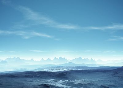 mountains, clouds, landscapes, digital art - related desktop wallpaper