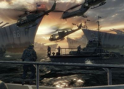 water, soldiers, video games, ocean, Call of Duty, Xbox, ships, PC, weapons, boats, US Army, Playstation 3 - related desktop wallpaper