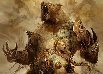 blondes, women, video games, Guild Wars, artwork, warriors, bears, chains - desktop wallpaper