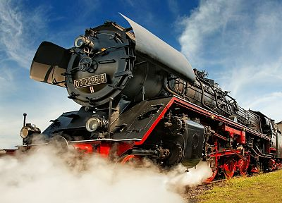 Germany, trains, Steam train, low-angle shot - related desktop wallpaper
