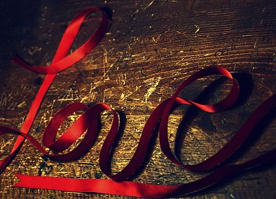 love, red, wood, tie, ribbons, tables - desktop wallpaper