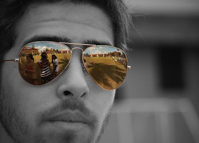 design, sunglasses, selective coloring, reflections, faces - desktop wallpaper