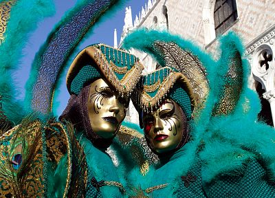 costume, feathers, carnivals, peacock, Venetian masks - random desktop wallpaper