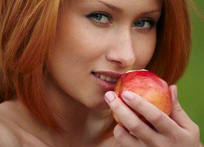 women, redheads, apples - desktop wallpaper