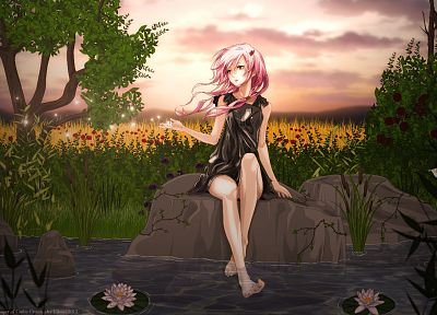 water, clouds, nature, trees, dress, flowers, rocks, long hair, sparkles, ponds, plants, barefoot, pink hair, red eyes, twintails, black dress, lily pads, skyscapes, bushes, Guilty Crown, hair ornaments, Yuzuriha Inori, water lilies - related desktop wallpaper