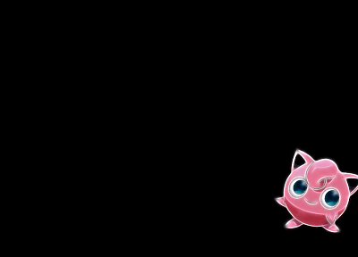 Pokemon, simple background, Jigglypuff, black background - desktop wallpaper