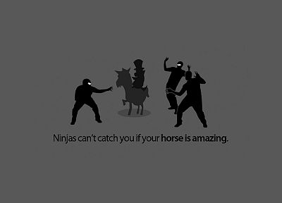 ninjas, ninjas cant catch you if, horses - desktop wallpaper