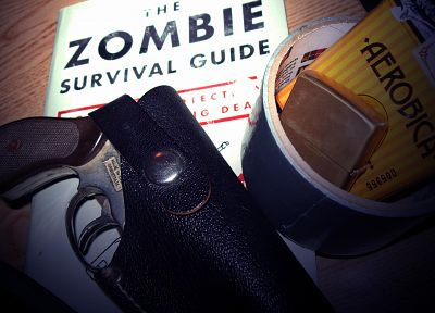 guns, weapons, books, zombie survival sheet - random desktop wallpaper