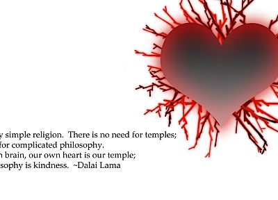 red, white, quotes, religion, Buddhism, hearts, Dalai Lama, littleTeufel - random desktop wallpaper