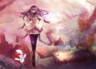 ruins, glasses, destruction, purple hair, Mahou Shoujo Madoka Magica, meganekko, anime, Akemi Homura, anime girls, Kyubey - related desktop wallpaper