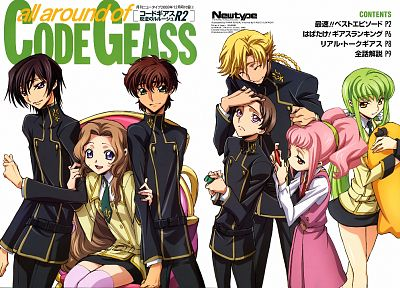 Code Geass, school uniforms, Kururugi Suzaku, Alstreim Anya, Lamperouge Nunnally, Lamperouge Lelouch, C.C., Lamperouge Rolo, Gino Weinberg - related desktop wallpaper